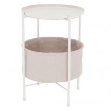 Příruční stolek s odnímatelnou tácem, bílá/hnědá, FANDOR