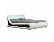 Manželská postel s RGB LED osvětlením, bílá / černá, 180x200, MANILA NEW
