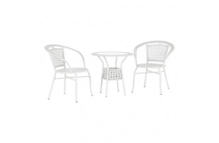 Zahradní ratanový set 1+2, bílá, JENAR