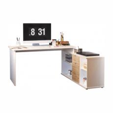 Psací stůl, bílá/dub wotan, DALTON 2 NEW VE 02