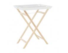 Servírovací stolek se dvěma snímatelnými tácky, bílá/přírodní, NORGE