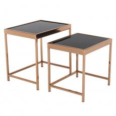 Set 2 konferenčních stolků, rose gold chrom růžová/černá, VITOR