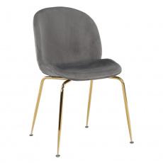 Židle, šedohnědá TAUPE/gold chrom-zlatá, PORTIA