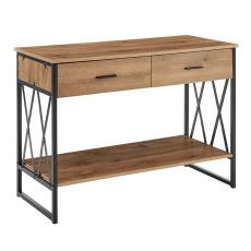 Konzolový stolek, dub/černá, NEVAN