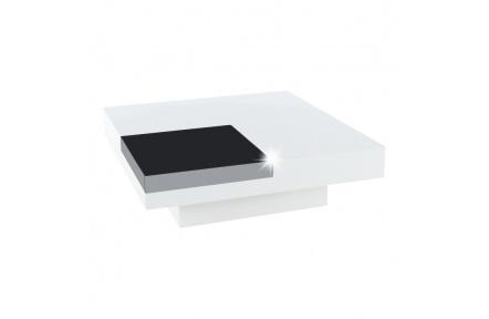 Konferenční stolek, bílá extra vysoký lesk HG / černá lesk, ELIOT