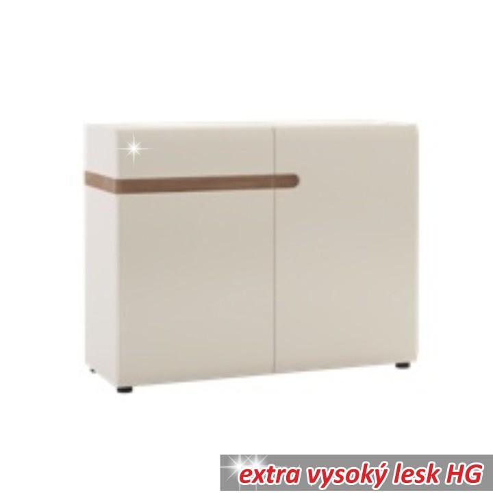 Komoda, 2 dveřová, bílá extra vysoký lesk HG/dub sonoma tmyvý truflový, LYNATET TYP 35