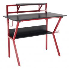 PC stůl / herní stůl, červená / čierna, TABER