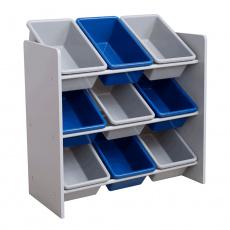 Organizér / regál na hračky, šedá / modrá, MAHEK
