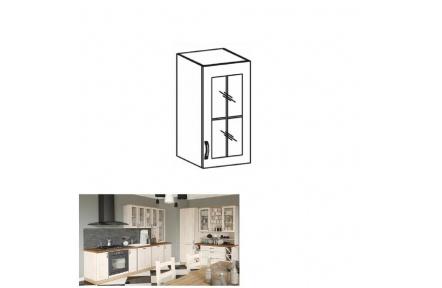 Horní skříňka se sklem, bílá / sosna skandinávská, pravá, ROYAL G40S