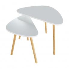 Sada dvou konferenčních stolků, bílá/přírodní, BISMAK