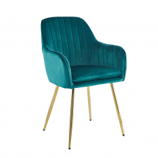 Designové křeslo, smaragdová Velvet látka / gold chrom-zlatý, ADLAM