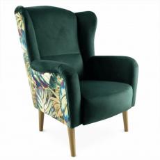 Designové křeslo, látka smaragdová / vzor Jungle, BELEK