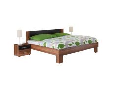 Manželská postel, s 2 nočními stolky, ořech / černá, 180x200, MARTINA