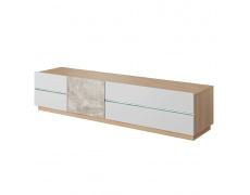 RTV stolek, beton / dub jantar / bílý mat, LAGUNA 180