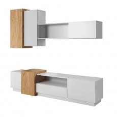 Obývací stěna, bíla/dub craft zlatý, TRIO