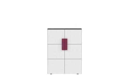 Komoda dvoudveřová, šedá/bílá/fialová, LOBETE 40