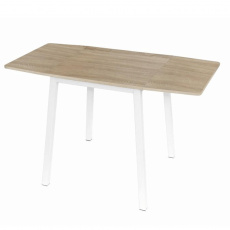 Jídelní stůl, MDF foliovaná / kov, dub sonoma / bílá, MAURO