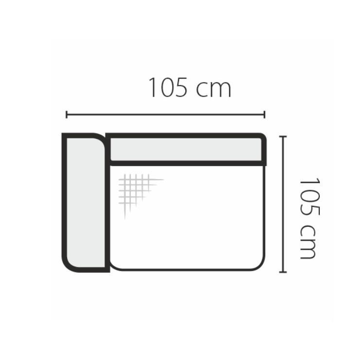 1-sed s područkou a úložným prostorem 1SBL, levé provedení, látka cablo 10 mentol / krémové podšití, GEVONA