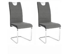 2 kusy, Židle, látka tmavě šedá / ekokůže černá / chrom, Izma