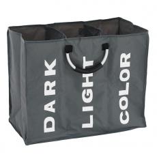 Látkový koš na prádlo, šedá / stříbrná / bílá, DEKLIN