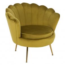 Křeslo ve stylu Art-deco, hořčicová Velvet látka/gold chrom-zlatý, NOBLIN