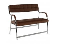 2-místná lavice do čekárně, hnědá / chrom, ILKIN
