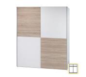Věšáková skříň s posuvnými dveřmi, bílá / dub sonoma, VICTOR 2