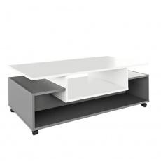 Konferenční stolek na kolečkách, bílá / grafit, DALEN