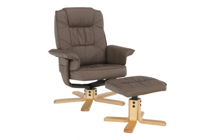 Relaxační křeslo s podnožkou, cappucino, LERATO