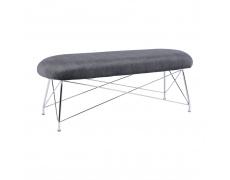 Designová lavice, šedá látka, chromové nohy, RIVOLA