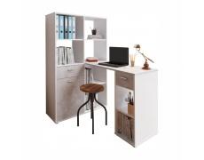 Rohový PC stůl s regálem, bílá / beton, MINESON