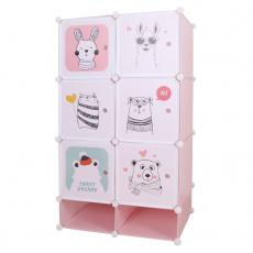 Modulární skříň pro děti, růžová / dětský vzor, NORME