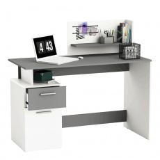 PC stůl, biela / tmavosivá, PLATON