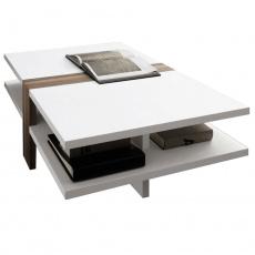 Konferenční stolek, bílá extra vysoký lesk HG/švestka, NAVIN