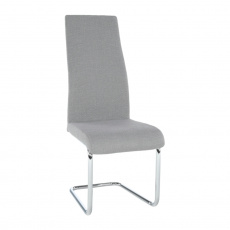 Jídelní židle, látka světle šedá / chrom, AMINA