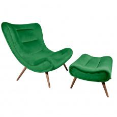 Křeslo s podnoží, zelená Velvet látka / kaučukové dřevo, KIRILO