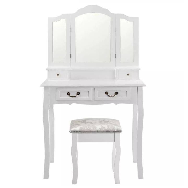 Toaletní stolek s taburetem, bílá / stříbrná, REGINA