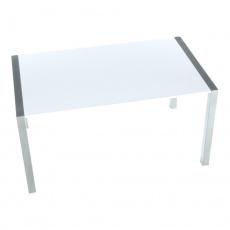 Jídelní stůl, rozkládací, MDF / kov, bílá extra vysoký lesk HG / stříbrná, DARO