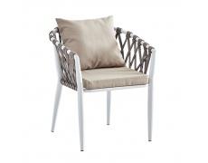 Zahradní židle, šedohnědá Taupe/bílá, SIRMA