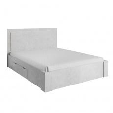 Manželská postel 160x200cm, úložný prostor, šedý beton, ALDEN