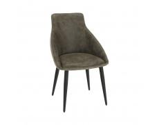 Jídelní židle, hnědá látka s efektem broušené kůže, DARAY