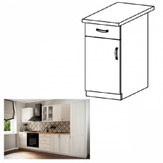 Spodní skříňka se šuplíkem D40S1, bílá / sosna andersen, levá, PROVANCE