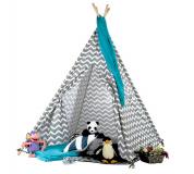 Dětský stan-teepee, šedá / bílá / vzor, Etent