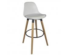 Barová židle, bílá / buk, EVANS