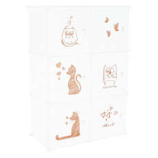Dětská modulární skříňka, bílá/dětský vzor, DINOS