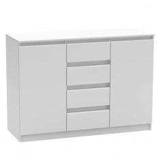 2 dveřová komoda se 4 šuplíky, bílá, HANY NEW 010
