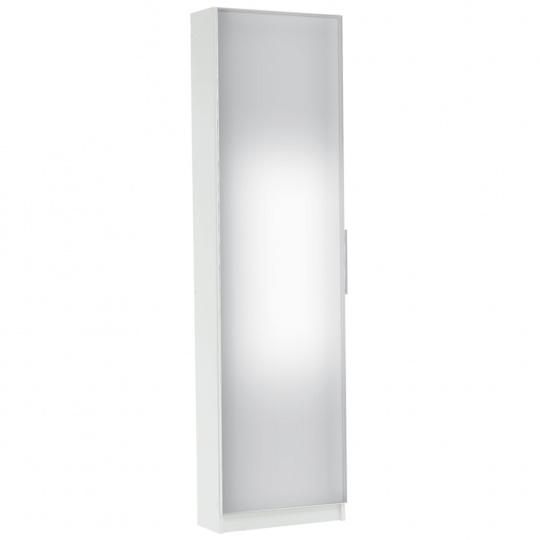 Botník, bílá / zrcadlo, KAPATER 304997