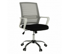 Kancelářská židle, síťovina šedá / látka černá / plast bílý, APOLO