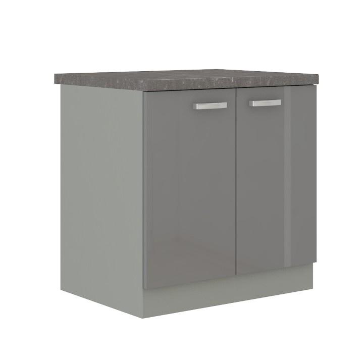 Skříňka dolní, šedá vysoký lesk, PRADO 80 D 2F ZB