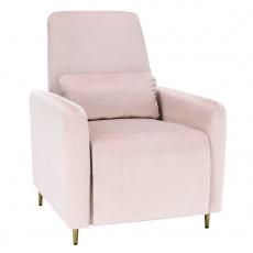 Relaxační polohovací křeslo, pudrově růžová látka, NAURO